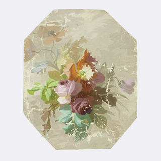 Bouquet of roses, poppies, anemones and various types of leaves, printed in gray, aqua, chartreuse, olive, mauve, blue, coral, etc., on gray octagonal support.