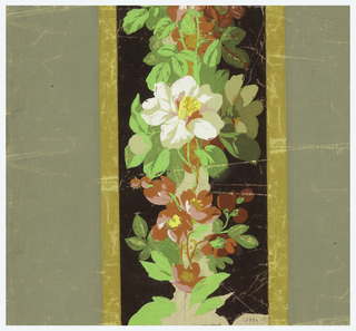 Vertical broad flat bands enclosing flowers arranged in vine-like garlands, Free-form blossoms and leaves.
