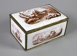 Rectangular casket with convex sides and lid, and concave bottom. Opaque white enamel, with raised diaper and scroll pattern, surrounding oblong cartouches painted with pastoral scenes in rose camaieu. Plan white counter enamel. All edges mounted in scrolled copper gilt; lid piano-hinged; thumb piece bow-shaped.