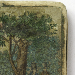 Small folding needle case with cardboard covers; inside are four leaves of taffeta lined with wool for inserting needles. The front cover is painted with a garden scene with three young ladies and two gentlemen in dress of about 1820. On the back cover, a group of young ladies near a ruin give money to a beggar woman. The inside leaves are printed with scenes from a medieval tale.