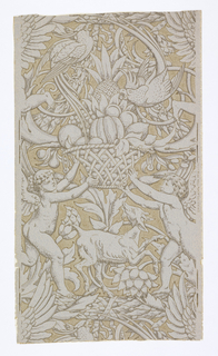 Full width giving more than one repeat of design composed of foliage arabesques and garlands, parrot perching on a basket of fruit held by two putti with a goat frolicking in between. Printed in pale grays and browns.