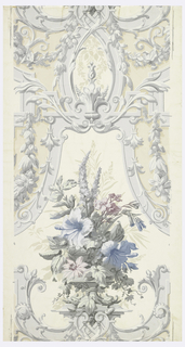 "Ornate medallion of simulated plaster ornamental frames in Rococo design in grisaille. The main motifs: an urn filled with a large bouquet of old fashioned flowers in pastel colors. Printed on margin: ""Birge, Made in U.S.A.' Used in parlor in restoration of birthplace of Theodore Roosevelt, New York City."
