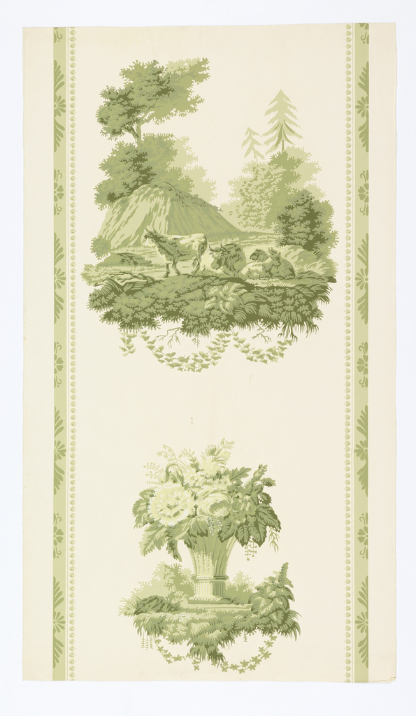 A reproduction of a wallpaper printed in France by Zuber. In style of provincial Empire but during the early Greek Revival, 1820-30. Composed of two alternating motifs. One is a pastoral scene of browsing cattle in a meadow with distant hill in background. The second motif is a tall basket filled with flowers. Vertical bands are on either side with a Greek anthemion for the motif. Printed in shades of green on white ground.