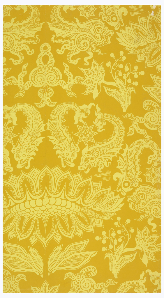 Original used in King's apartment at the Royal Pavilion. Cooper Union Museum has portion of one panel, 1950-59-1. Manufacturer has made repeating paper from this incomplete portion. Design has large flowers, starfish and dolphins. Pale yellow on mustard yellow ground.