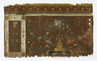 Border at top. A major horizontal rectangle has as its chief motif a vase of roses and other flowers on a high stand. At right and left of this are addorsed fowls. Secondary motif, a vertical rectangle, has lamp on high stand intertwined with foliage and floral arabesque. Printed on brown-red ground.