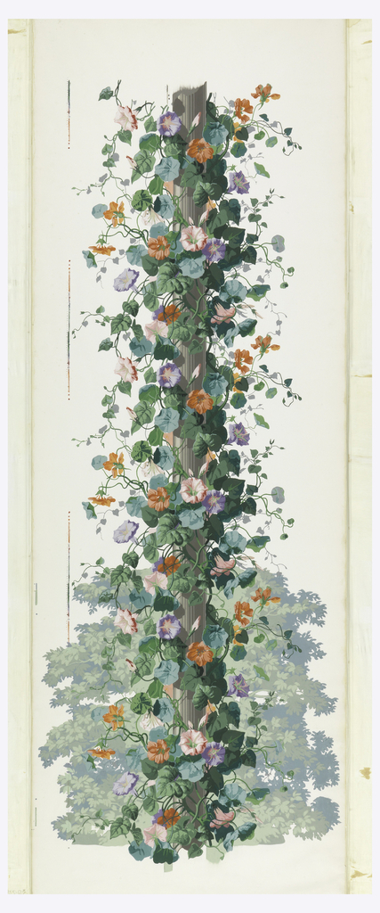 Fluted column shaft around which cluster a profusion of morning glory vines, blossoms and tendrils. A cluster of leafy branches, bottom, background. Many colors on white ground.