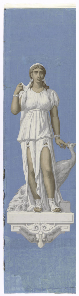 Depiction of Juno, in white dress, standing on a plinth with a large peacock. Printed on a blue background.