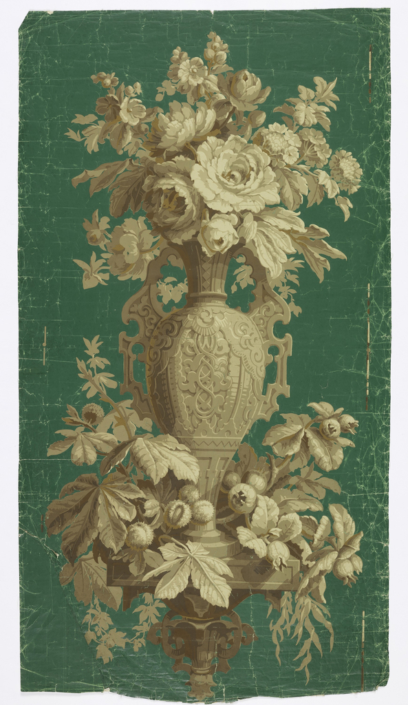 Tall vase in Renaissance style filled with bouquet of roses and other flowers, its base encircled by leafy foliage. Rests on a carved console. Printed in grisaille on green glazed ground.