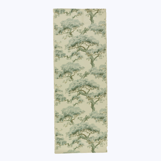 Assorted twisted pine trees, appearing like bonsai, printed in green and brown on taupe ground. Printed in selvedge: Rd No 605300.