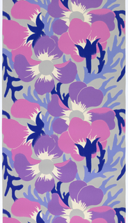 Large multi-colored flowers and leaves. Printed in pink, purple, two shades of blue and white on a gray ground.