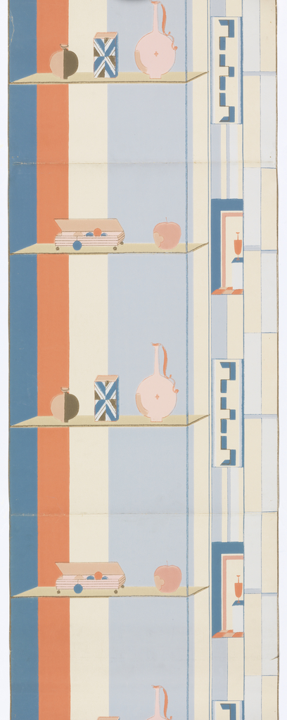 A pair of horizontal shelves upon which sit a variety of objects including vases, bottles, boxes, jewelry box, and an apple. The background consists of wide vertical stripes of red, white and blue.