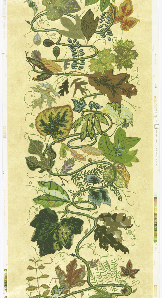 A variety of large-scale leaves extending from meandering vine. Printed in twenty two colors on five color ground of golden yellow.