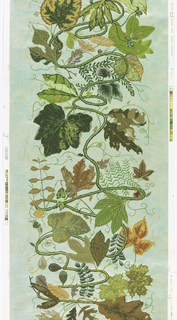 A variety of large-scale leaves extending from meandering vine. Printed in twenty two colors on five color ground of celadon blue.  This piece is signed by the artist, the edition is 2/500.