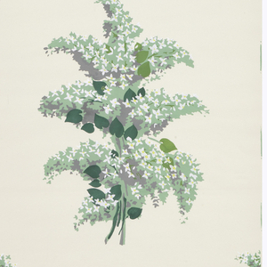 Large sprigs of rose foliage, printed in shades of greens, alternating with sprigs containing large red rose, on white ground.