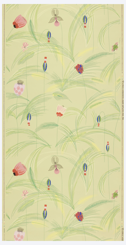 Brightly colored, highly stylized flowers and tall grass. Printed in red, pink, blue, yellow and green on light green ground.