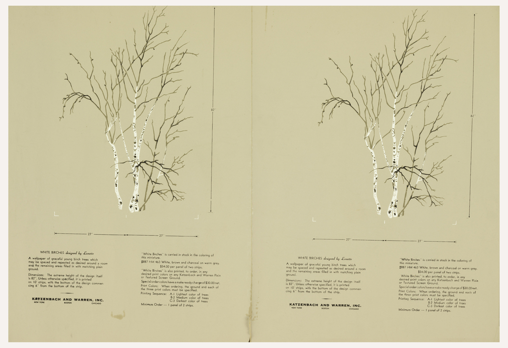 """Two identical miniatures of the """"White Birches"""" mural, printed side by side.  Each is a cluster of birch trees that are bare except for a few dangling leaves. Printed on tan ground."""