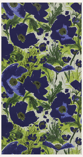Large-scale blue poppies with green leaves printed on off-white ground.
