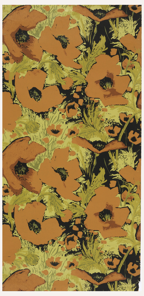Large-scale orange flowers with ocher leaves. Printed on mustard yellow ground.