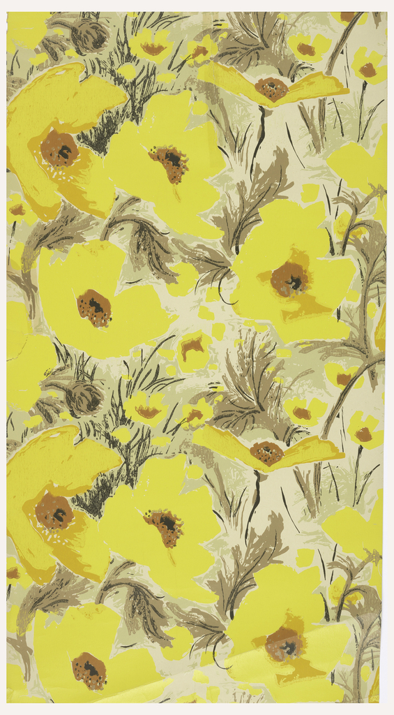 Large-scale yellow poppies with tan leaves. Printed on an off-white ground.