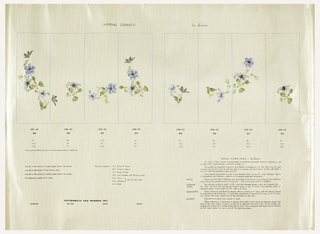 Mural miniature consisting of eight panels: large blue flowers on green stems, printed on a white ground.