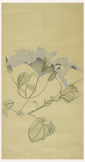 Panel #248 from a mural: large-scale blue clematis printed on paper-backed mesh.