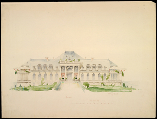 Elevation, executed in delicate watercolor washes, showing the front entrance, walkway, tented sunporches on second story at left and right, and suggested landscaping. Below image, a scale and numerical annotations.