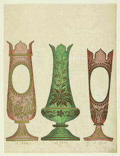 Drawing, Designs for Colored Glass Vases