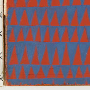 Design for plastic laminate. Brush and gouache used to create all-over, repeat pattern of blue triangles on red ground. Triangles are irregular in height and width.