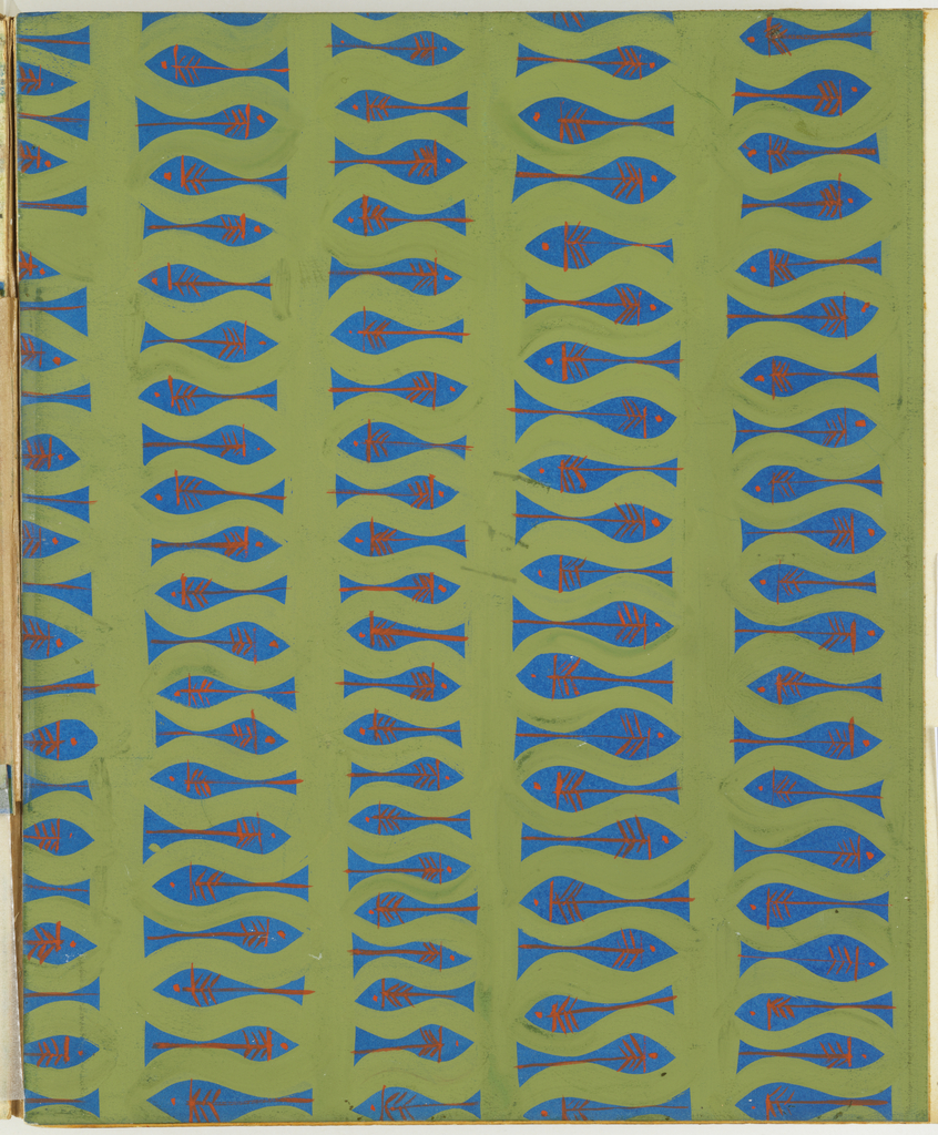 Design for plastic laminate. All-over repeat pattern on cyan ground features straight vertical and undulating horizontal lines in green gouache that delineate horizontal, alternating fish. These have eyes, gills, and stripes in thin red-orange gouache line. Pattern comprised of vertical bands.