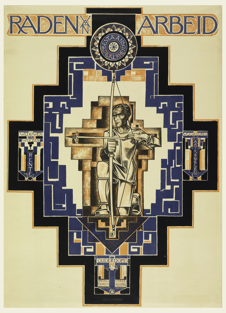 Upright horizontal composition featuring a motif of a stylized cross in blue, black and orange. At the center, a kneeling man holds a bow and arrow. In each of the four corners of the cross decorative motifs with Dutch wording are evident. At the top of the composition, a roundel with the words: Bestaans zerkerheid; above this the words: RADEN van ARBEID in blue and orange.
