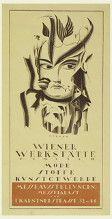 On upper two-thirds of sheet: head of a woman whose hair is drawn as a grape vine with spear-shaped leaves.  She wears ribbon under chin, vine around cylindrical neck, and  veil removed to her left.  The poster advertizes an Wiener Werkstatte exhibition.  The text occupies the lower third of sheet, see inscriptions.