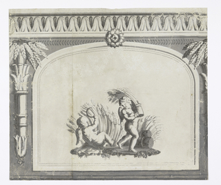 Horizontal rectangle. Architectural moldings at top edge with a large central inset panl with arched top. Panel contains the image of two cherubs harvesting wheat, one is reclined and using a scythe while the other stands to bale and carry away. To left and right, portions of a vertically placed quiver or vase each holding a bouquet of drooping wheat ears.
