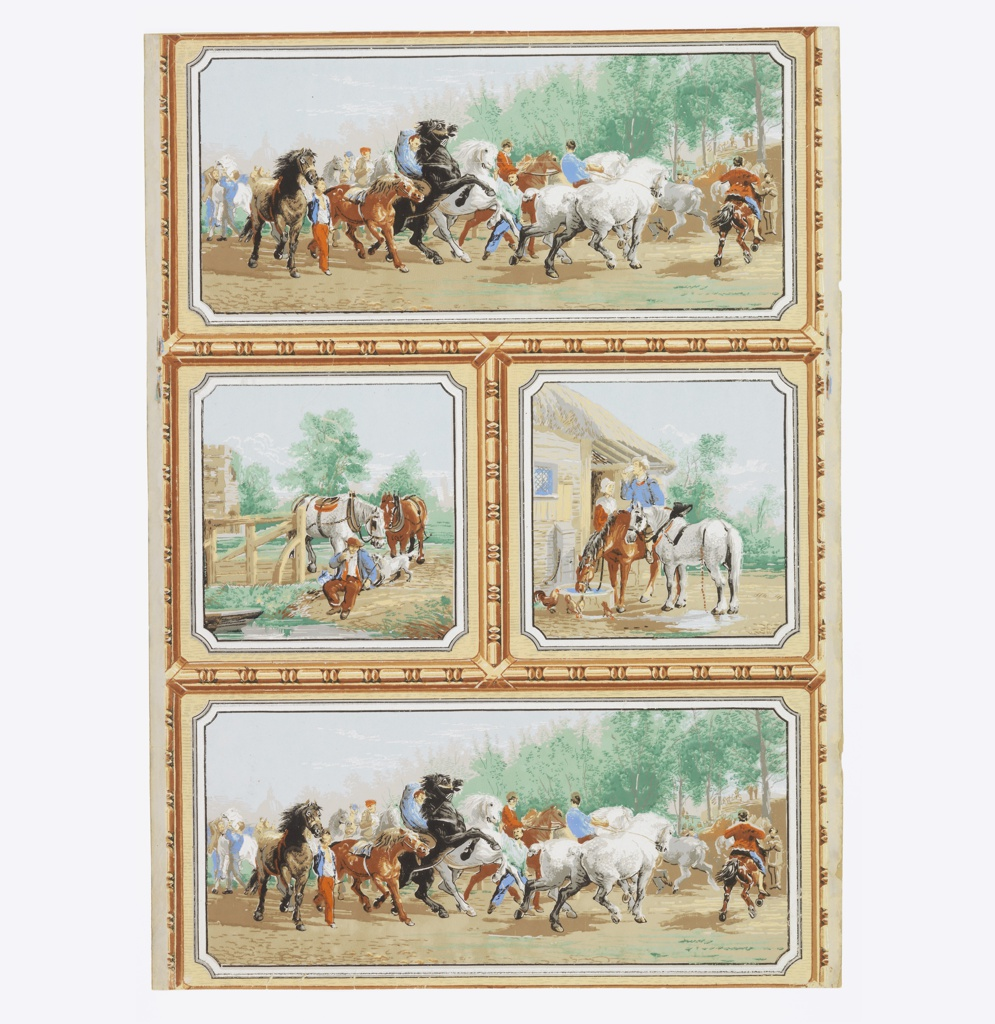 """Vertical rectangle, ashlar block-style design divided by framework of architectural bead and reel molding in yellow and brown into two long rectangles, top and bottom, with two squares between. Upper and lower rectangles contain free copy of Rosa Bonheur's """"The Horse Fair"""". The center squares show figures and horses. Printed in reds, blues, greens and yellow."""