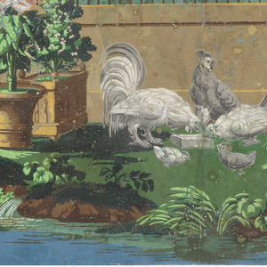Horizontal rectangle for overdoor, or fireboard. Scene showing domestic fowl in a barnyard, with a well-head, printed in colors on blue ground.
