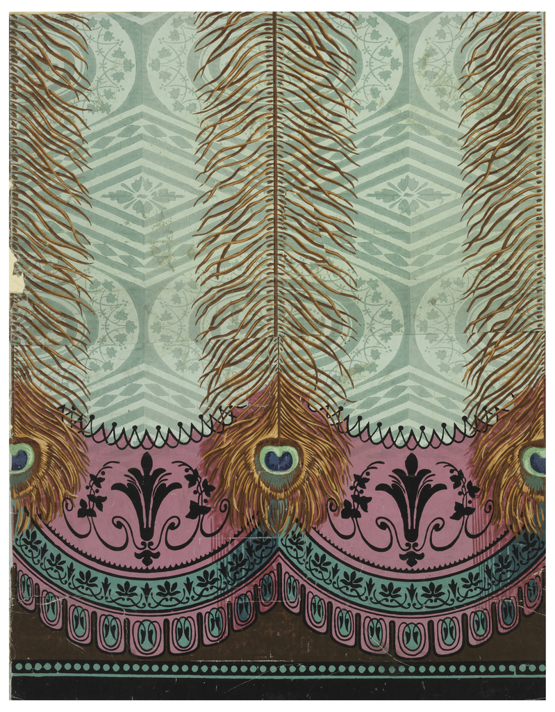 Large peacock feathers hang down over drapery edged in pink and green. The drapery has green damask design of ovals and diamonds. The edging has black sprigwork and other foliate motifs.