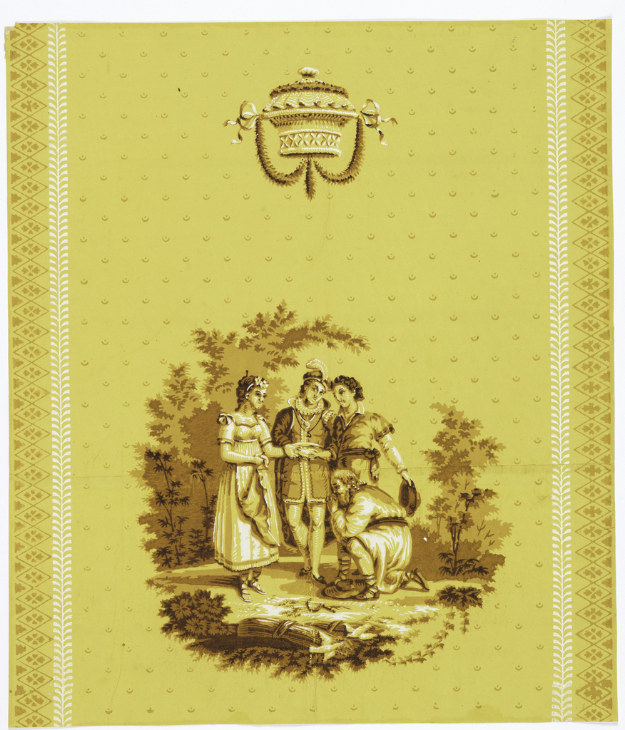 On strong yellow ground a group of two men in medieval costumes and a woman, standing, with an old man kneeling in front of them. Above, a small basket, hung with festoons. On the sides, diaper borders and vertical foliated stems. Printed in shades of brown and white.