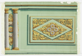 Empire style dado fragment. On light, bright green ground, horizontal rectangle outlined and shaded in green and white to simulate raised panel, corners filled with symmetrical acanthus, flowers and berries in yellow and gold-color around diamond with center of gold and yellow foliage with four white flowers. To left of rectangle, pair of fluted white columns with gold and yellow bases and capitals with cross-hatching. Illusionistically behend and between columns gold and gray wreath.