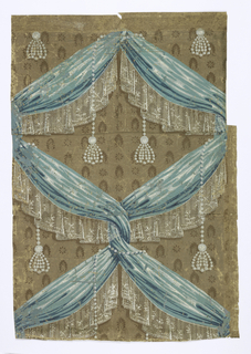 a,b) On brown ground, alternating small brown stylized flowers and leaves overlaid with blue gathered fabric with white lace edging imitating drapery twists into a diaper pattern; strung pearl tassels loop around fabric; on left, a small vertical foliated border in shades of blue-black, blue, and tan; on bottom, a larger anthemion-style border in shades of blue-black, blue, and yellow; c) border - on dark brown ground between color bands of tan, yellow, and orange, a foliated vine in shades of orange, blue, light blue, and yellow.  H#595