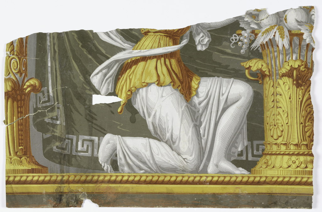 A vase filled with fruit at center towards which two kneeling, confronted maidens reach. They are dressed in flowing classical robes. A stylized Ionic column marks the horizontal repeat. A fabric is draped from the volutes between the two columns. The fabric, trimmed with a Greek key motif with anthemia in the corner, is printed in grisaille with light olive green highlights. A floral garland runs along the top edge while a cable twist runs along the bottom. Printed in grisaille with yellow and ocher.
