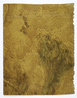a) Imitation wood grain - possibly oak - in shades of brown and yellow with varnished surface; b) imitation burled wood grain in shades of brown, yellow, and green with varnished surface; c) imitation wood grain in shades of off-white and light brown with varnished surface. Faux bois.