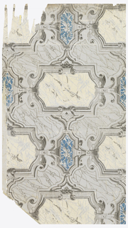 Pattern imitates elaborate marble-work, with scrolls and panels carved and inset. Printed in shades of gray, white and blue on light gray ground.