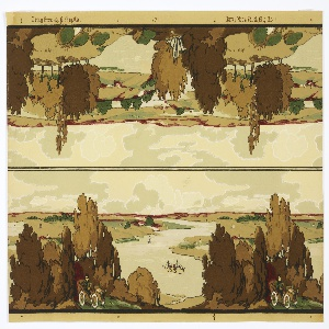 Landscape frieze, containing two separate borders on top and bottom. The top border is mainly a landscape design with trees in foreground, hills in background, with meandering river running amidst peninsulas. The bottom frieze contains a boat in the river and an automobile in the foreground, with an airplane flying overhead. Printed in greens, browns,  and red on tan ground.