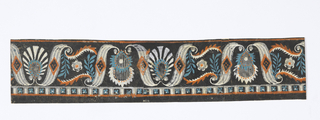 Horizontal rectangle. Border paper, with design of palmette and leaf scrolls alternately set between S-scrolls with wide shafts.