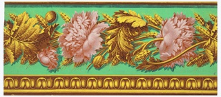 Horizontal rectangle. Leaf motif across top, in yellow and red-orange. Below, peonies in pink and leaves in yellow and red-orange, on green ground.