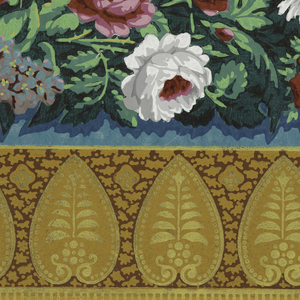 Horizontal rectangle. Across top, heart-shaped leaf motif in neutral yellows on neutral red-orange field. Below, chain of flowers and foliage. Printed in white, orange, red, violet and green on a blue field.