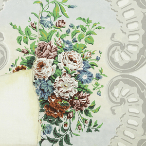 Vertical rectangle, giving complete width of the upper portion of panel, with rocaille framework and foliage scrolls in grisailles; large and smaller enclosed medallion of floral bouquets, in strong colors. Printed on glazed white paper.