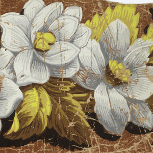 Acanthus leaves with water lilies and other flowers, above a simulated leafmolding. Printed in yellows, browns, blues and grays, with black shading.