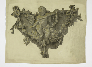 Rough triangle with scroll, flower and ribbon decoration, at center of which is seated putto. Printed in grisaille.