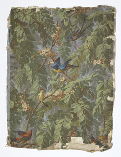 On blue-gray ground, green leafy fill, flowering branches with birds.