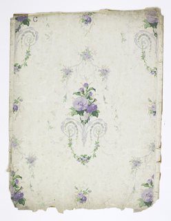 On white ground with imitation of moire silk in gray, scrollwork, gray trailing vines and swags, and lavender flowers with green leaves.